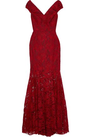MILLY Fluted lace gown