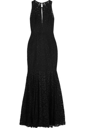 MILLY Joan fluted cutout lace gown