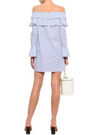 REBECCA MINKOFF Cold-shoulder striped cotton mini dress