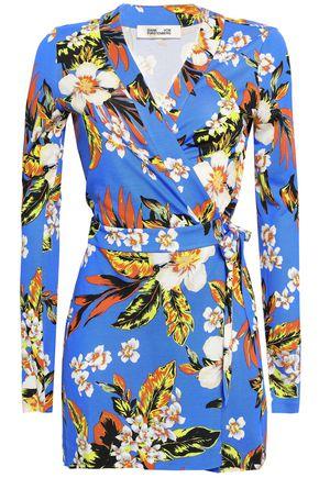 DIANE VON FURSTENBERG Wrap-effect floral-print silk-jersey playsuit
