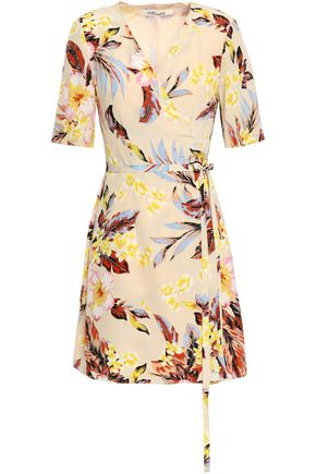 DIANE VON FURSTENBERG Floral-print silk mini wrap dress