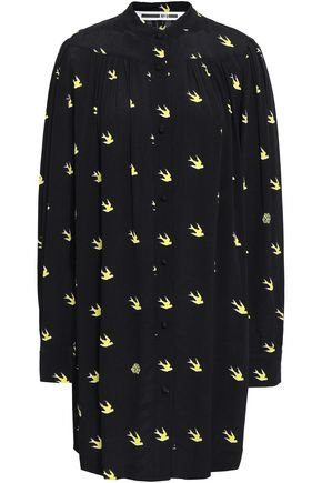McQ Alexander McQueen Pleated printed crepe mini shirt dress