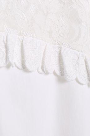 McQ Alexander McQueen Lace-paneled cotton-poplin mini shirt dress
