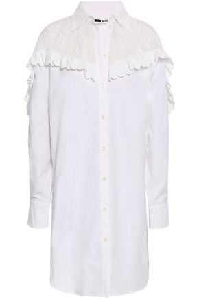 McQ Alexander McQueen Lace-paneled cotton-poplin mini shirt dress