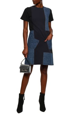 McQ Alexander McQueen Patchwork cotton-terry and denim mini dress