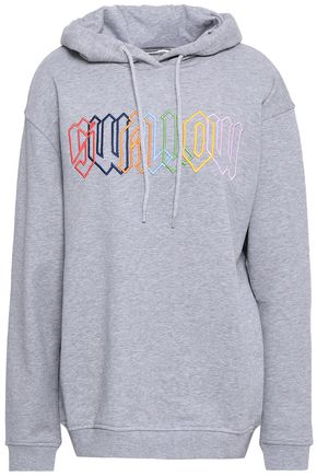 McQ Alexander McQueen Embroidered mélange French cotton-terry hooded sweatshirt