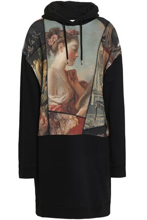 McQ Alexander McQueen Printed French cotton-terry hooded mini dress