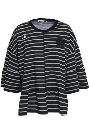 McQ Alexander McQueen Appliquéd ruffle-trimmed striped cotton-jersey T-shirt