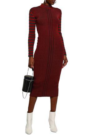 McQ Alexander McQueen Striped ribbed-knit midi dress