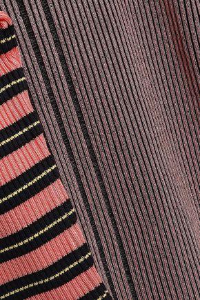 McQ Alexander McQueen Striped metallic ribbed-knit top