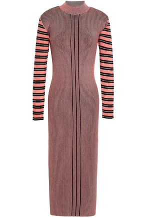 McQ Alexander McQueen Striped ribbed-knit midi dress