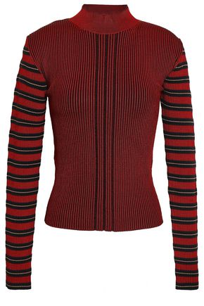 McQ Alexander McQueen Striped metallic ribbed-knit top