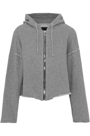 RTA Distressed French cotton-blend terry hooded sweatshirt