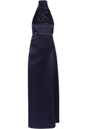 SID NEIGUM Satin halterneck maxi dress