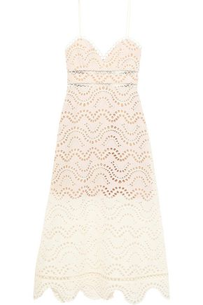 ZIMMERMANN Jaya Wave broderie anglaise cotton midi dress