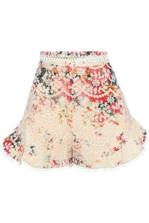 ZIMMERMANN Laelia Diamond floral-print broderie anglaise cotton shorts