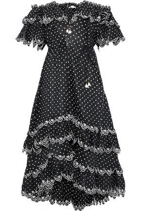 ZIMMERMANN Jaya Scallop off-the-shoulder Swiss-dot linen midi dress