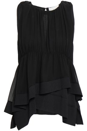 3.1 PHILLIP LIM Gathered ribbed knit-trimmed silk crepe de chine top
