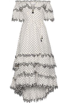 ZIMMERMANN Jaya Scallop off-the-shoulder Swiss-dot linen midi dress