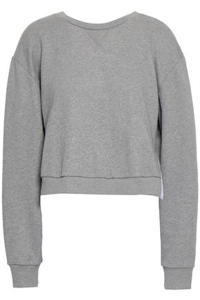 3.1 PHILLIP LIM Cropped French cotton-terry and ruffled poplin sweatshirt