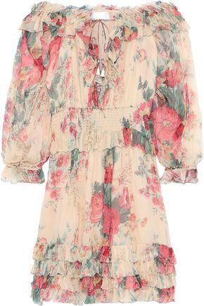 ZIMMERMANN Laelia Frill off-the-shoulder floral-print silk-georgette mini dress