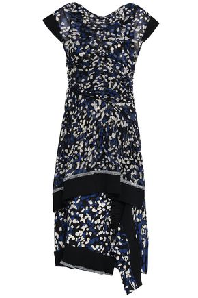 3.1 PHILLIP LIM Ribbed knit-trimmed layered printed silk-chiffon dress