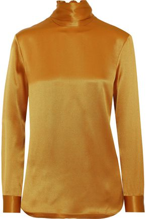 ADAM LIPPES Tie-neck silk-satin top