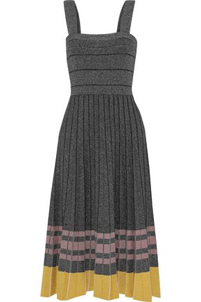 DEREK LAM 10 CROSBY Pleated striped metallic stretch-knit midi dress