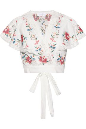 ZIMMERMANN Laelia cropped embroidered linen and cotton-blend top
