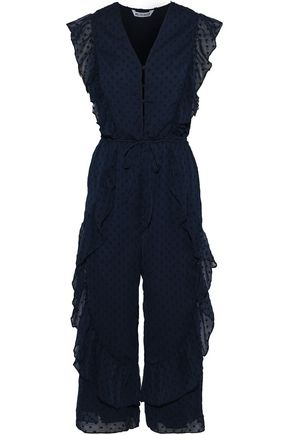W118 by WALTER BAKER Maria cropped ruffled fil coupé georgette jumpsuit