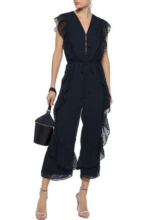 2e256aa15c3 W118 by WALTER BAKER Maria cropped ruffled fil coupé georgette jumpsuit