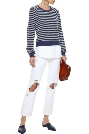 DEREK LAM 10 CROSBY Layered striped French cotton-blend terry and poplin top