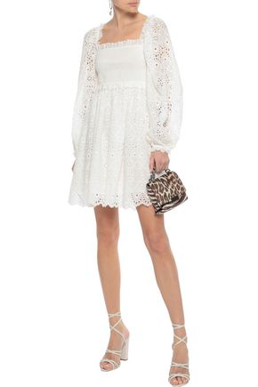 ZIMMERMANN Castile shirred broderie anglaise cotton and silk-blend mini dress