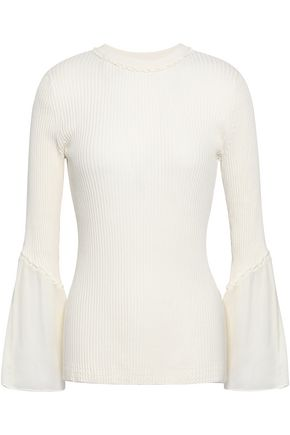 3.1 PHILLIP LIM Ruffle-trimmed ribbed silk and cotton-blend top