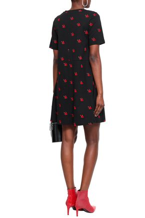 McQ Alexander McQueen Flocked printed cotton-jersey mini dress
