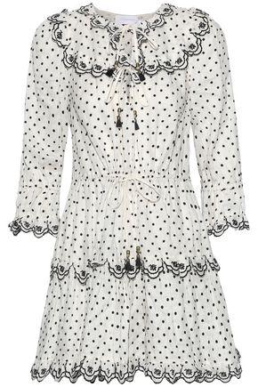 ZIMMERMANN Jaya Scallop Swiss-dot linen mini dress