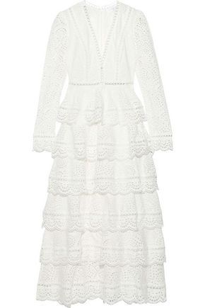 ZIMMERMANN Bayou tiered broderie anglaise cotton midi dress