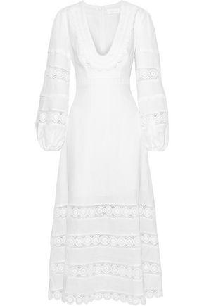 ZIMMERMANN Castile Plunge crochet-trimmed linen midi dress