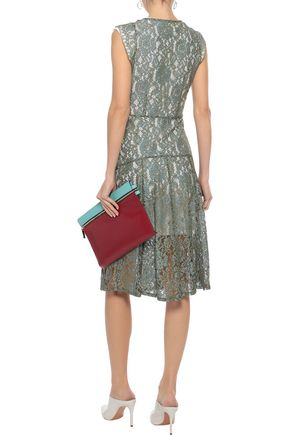 W118 by WALTER BAKER Vanya layered corded lace and jersey dress