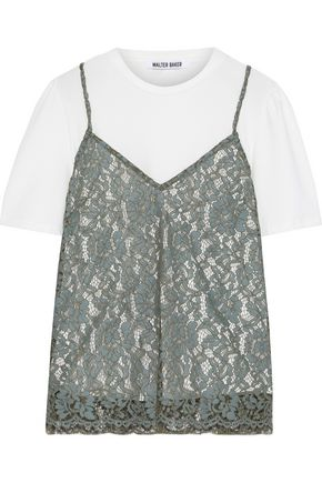 W118 by WALTER BAKER Danita layered corded lace and cotton-blend jersey top