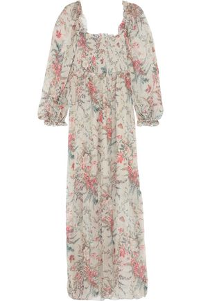 ZIMMERMANN Bayou shirred floral-print silk-gauze maxi dress