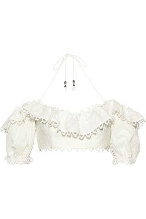 ZIMMERMANN Melody off-the-shoulder Swiss-dot linen and cotton-blend top