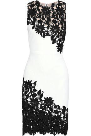ALICE + OLIVIA Margy guipure lace-appliquéd cady dress