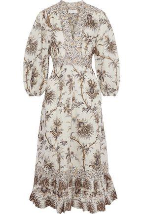 d389a989 Tali Bib Front floral-print linen midi dress | ZIMMERMANN | Sale up ...
