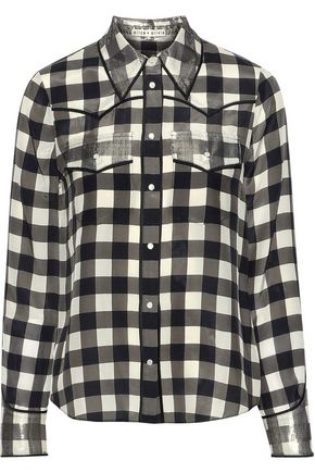 ALICE + OLIVIA Caleb metallic-trimmed gingham silk shirt