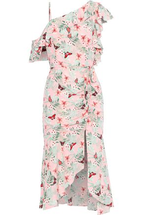 JOIE Jamima ruffled printed washed-silk midi dress