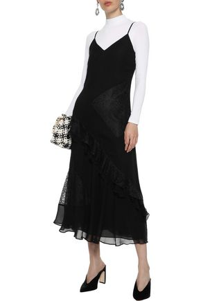 DEREK LAM 10 CROSBY Lace-paneled ruffled georgette midi dress