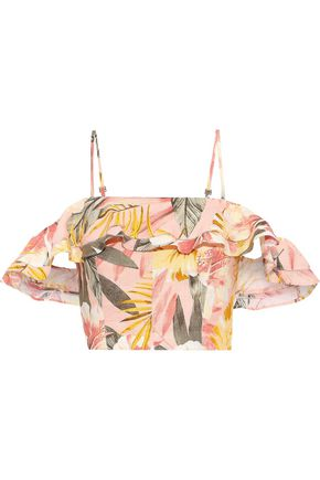 JOIE Saphira cold-shoulder cropped floral-print linen top