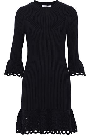 DEREK LAM 10 CROSBY Crochet knit-trimmed ribbed cotton mini dress