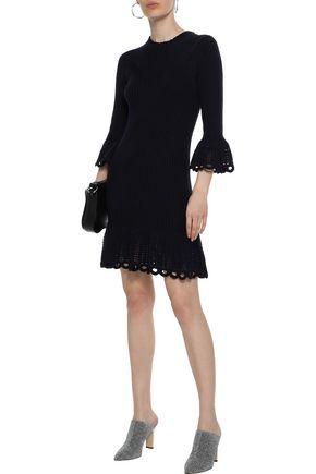DEREK LAM 10 CROSBY Crochet knit-trimmed ribbed cotton mini dress